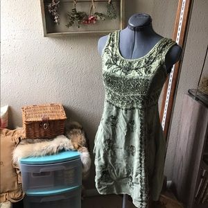 Green Embroidered Tunic Dress